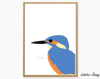 Bird Wall Decoration, Kingfisher Printable Art, Bird Print, Instant Download, Modern Wall Decor, Birds Wall Print