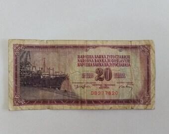 Yugoslavija 20 Dinara banknote 1974