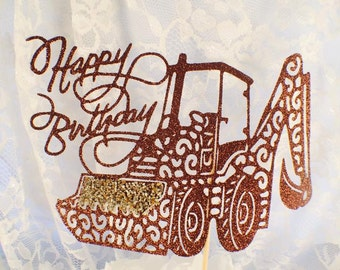 Backhoe Cake Topper - Construction - Man Birthday - Birthday Party - Machinery Decorations - Heavy Equipment - Custom - Excavator - Boy Fun