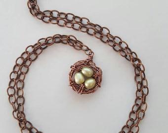 Green Freshwater Pearl Birdnest Necklace