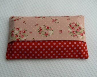 tissue case  pink  Kleenex pouch fabric tissue holder with dots and flowers travel tissue case  travel tissue holder