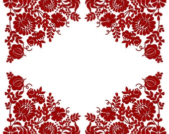 Machine Embroidery Design - Red Hungarian folk art (2 sizes)