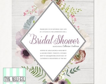 Bridal Shower *PRINTABLE* Invitation | Rustic wood & flowers