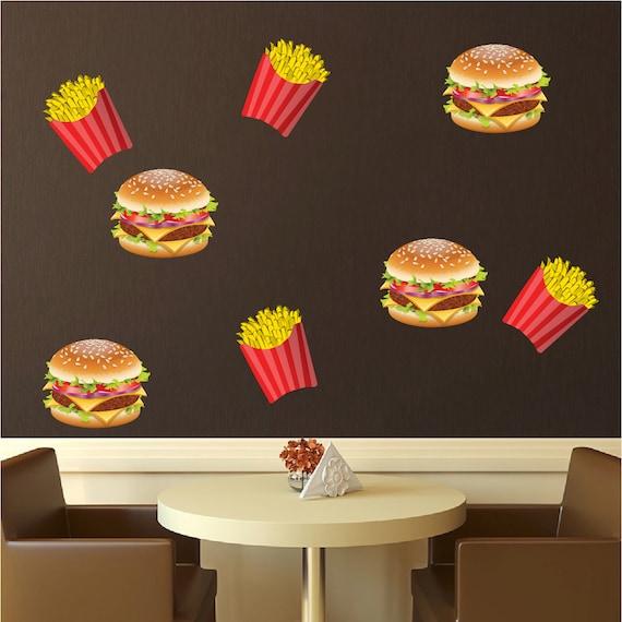 Burger and fries vinyl wal and windowl decals hamburger - Fries behang wall ...