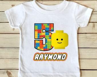 Lego Birthday Shirt - Lego Guy Shirt - Lego Shirt - Birthday Shirt - Boys Birthday Shirt - Personalized Shirt - Custom Shirt-