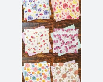 60 Sheets of Reversible Floral Paper - For Origami and Other Crafts - Assorted Prints
