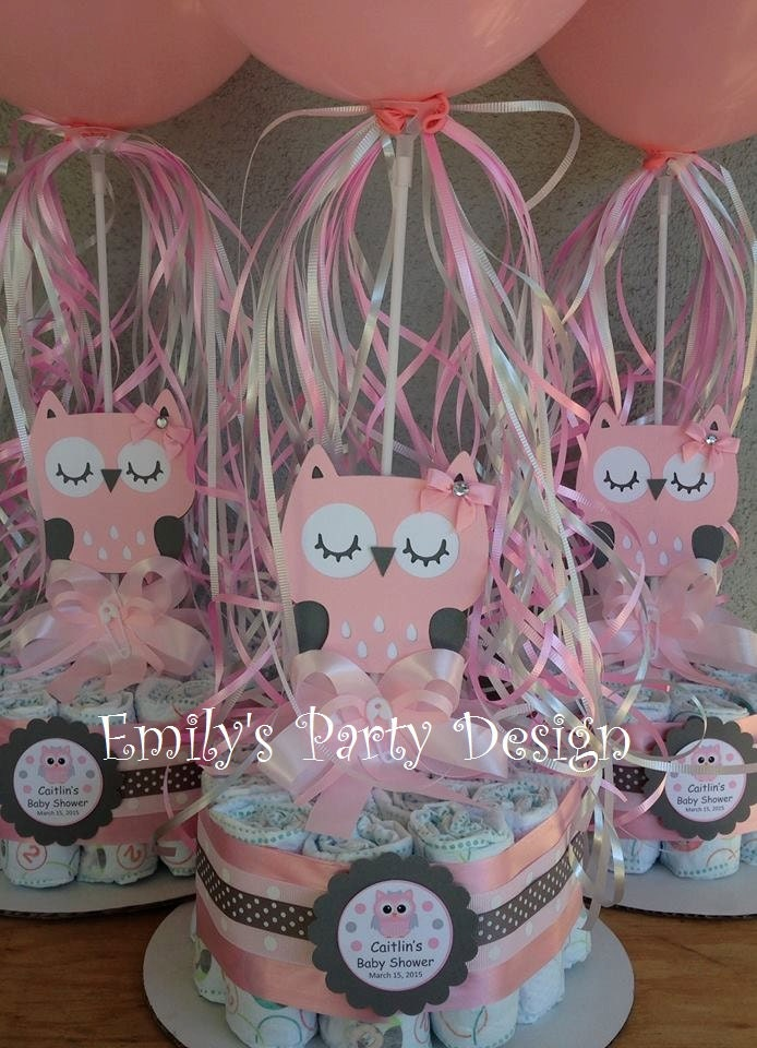 Owl baby shower diapers centerpiece with balloon diaper cake
