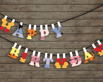 Winnie the Pooh Birthday Pennant Banner Flags 2 (party, baby shower decoration -garland) Instant Download & Printable. DIY. Pastel birthday