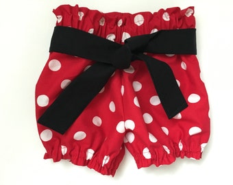 Red & White Polka Dot Bloomer Shorts Minnie Mouse Bubble summer Shorties Newborn / Baby / Infant / Toddler
