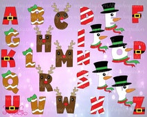 Christmas Alphabet Monogram Cutting File Set in Svg Eps Dxf Jpeg for Cricut & Silhouette: Reindeer Bow Santa Belt Snowman Scarf Gingerbread