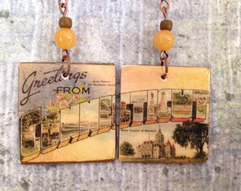 Up-cycled Connecticut Earrings, decoupage postcard earrings, cereal box earrings
