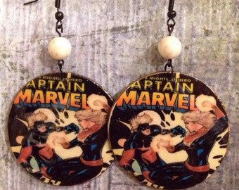 Up-Cycled Captain Marvel Earrings, decoupaged cereal box earrings, comic book earnings