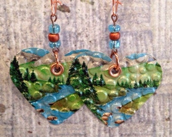 Heart Shaped Sierra Nevada Up-Cycled Beer Can Earrings