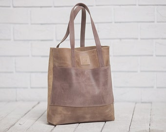 Leather tote bag, Shopper bag, Shoulder bag, Brown leather bag, Women leather bag