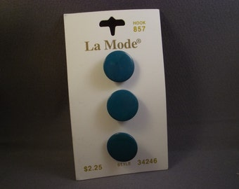 La Mode Green Buttons on Card, 16mm, vintage, 3 pc. 34246
