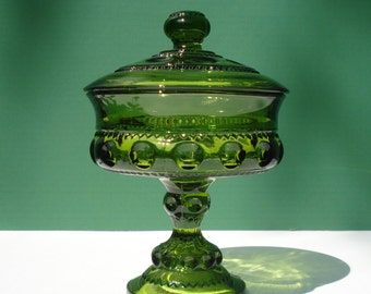 Vintage Avocado Covered Candy Dish - King Crown Pattern  by Indiana Glass