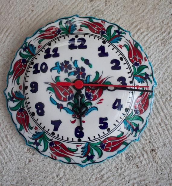 Clock, Handmade Pottery Clock, Decorative Ceramic Clock, Wall Clock, Floral Design Wall Decoration, Hand Painted Ceramic Plate Clock, Watch