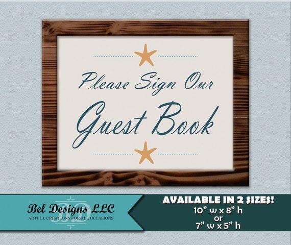 guest book sign starfish beach themed wedding anniversary