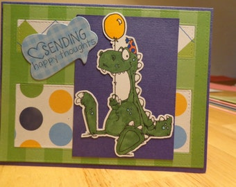 Dinosaur with happy thoughts