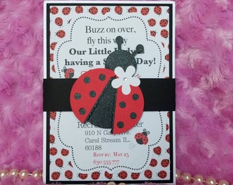 20 pcs Lady bug invitation/ lady bug birthday invitation/ 5x7 lady bug personalized invitation