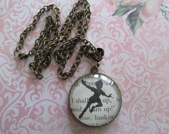 Peter Pan jewellery - antique bronze style pendant - handmade glass dome necklace- jewellery made from the pages of a book