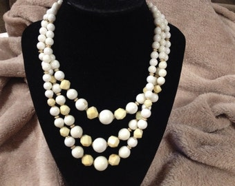 Vintage Pastel Yellow and White Three Strand Beaded Necklace, 14'' Long