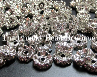 8mm rhinestone rondels (50 pieces)