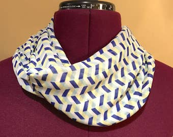 Geometric infinity scarf light weight blue, yelllow and white