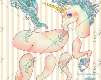 Pastel Unicorn Articulated Paper Doll DIY Printable Kit Pop Surrealism Lowbrow