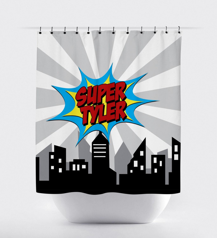 Superhero shower curtain custom name comic super hero shower for Superhero shower curtain