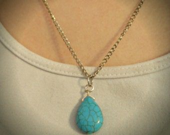 Turquoise Teardrop Necklace, Turquoise Necklace, Trendy Jewelry