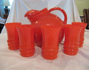 Anchor Hocking Orange Ball Pitcher and Glasses