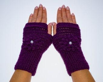 Purple flower gloves, fingerless gloves, crochet fingerless gloves, fingerless mittens, womens gloves, winter gloves, hand warmers