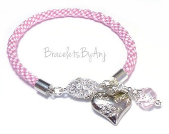 Pink Chunky Cord Bracelet , Kumihimo Braid Bracelet, Heart Charm Bracelet, Braided Cord Bracelet, Stackable Bracelet, Gifts for Her