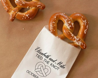 Tied The Knot Pretzel Bags, Hot Pretzel Sacks, Wedding Snack Bags, Bakery Bags, Wedding Favor - Personalized - Coated, Grease Resistant