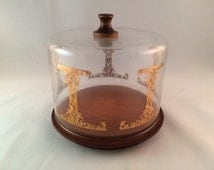 SALE - Vintage Pyrex Cheese Dome with Wood Board