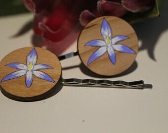 Shy Sun Orchid Flower Bobby Pins-Flower Hair Pins-Flower Bobby Pins-Handpainted-Wildflower Hair Pin-Australian Wildflower