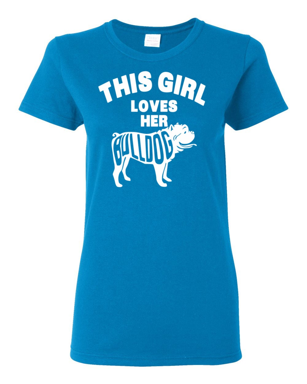 Bulldog T-shirt - This Girl Loves Her Bulldog - My Dog Bulldog Womens T-shirt