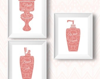 Superb Coral Bathroom Rules, Bathroom Rules Printable, Bathroom Printable, Bathroom  Print Set, Bathroom