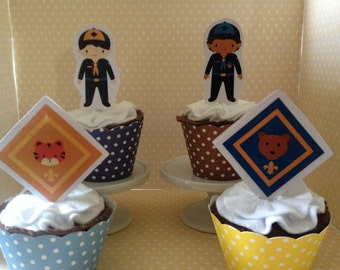 Cub Scouts  and Boy Scouts Party Cupcake Topper Decorations - Set of 10