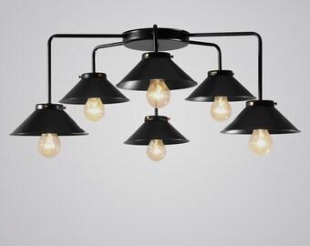 Vintage Retro Industrial ceiling 6 lights black color with bronze skrews
