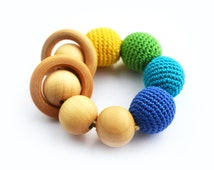 Teething Rattle Ring toy - Wooden teether - New baby - Babyshower gift - Boy gift - Wooden toy rattle - Blue Green Yellow