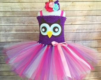 Owl costume - owl tutu -  owl birthday dress - owl dress - girls owl dress - pink and purple tutu - owl tutu dress - girls dress up outfit