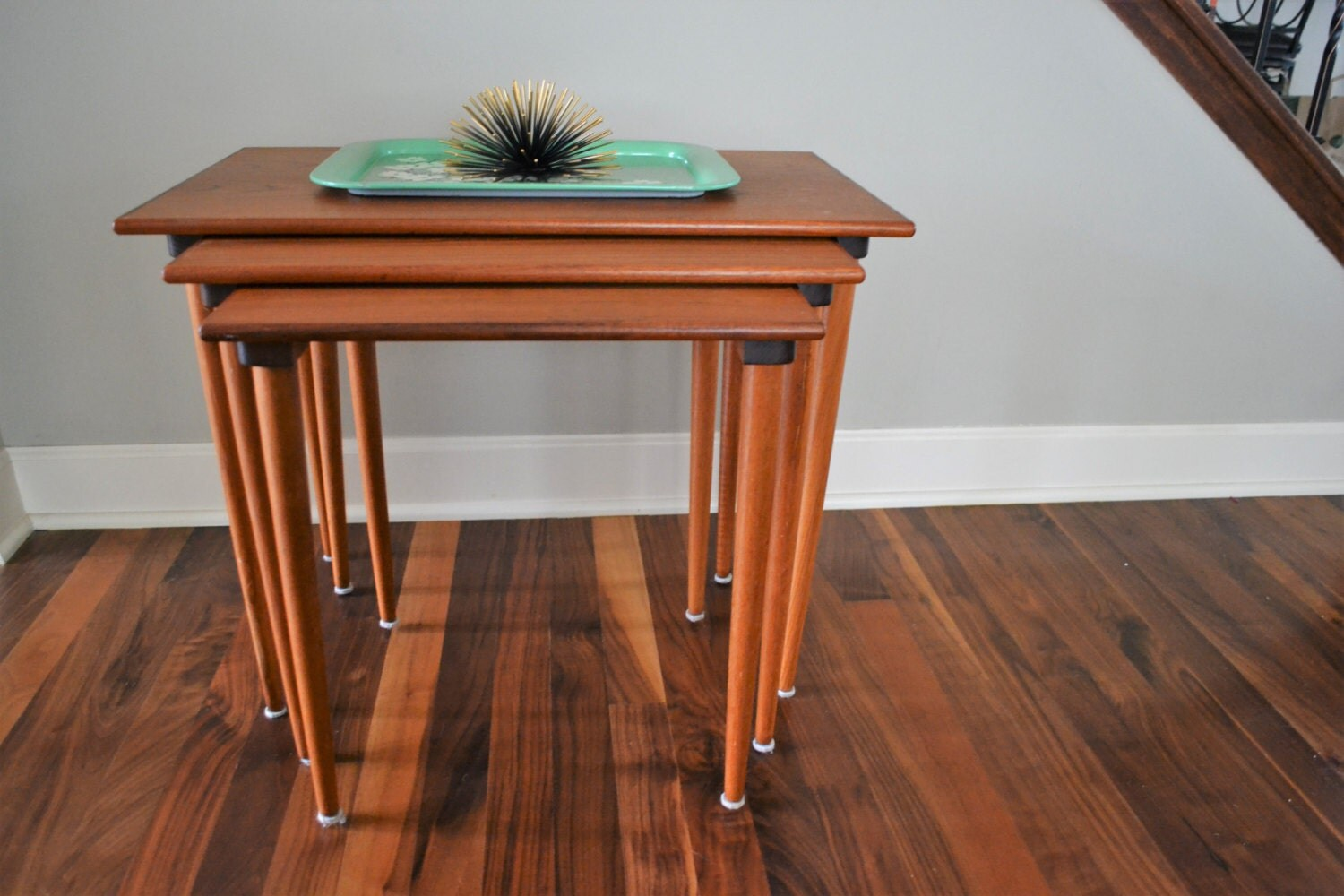 Mid century modern nesting tables westnofa made in norway for Modern nest of coffee tables