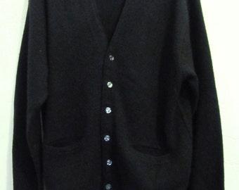 A Men's,Vintage 60's,Mod Black MAD MEN era Hipster Cardigan By COLUMBIA.M