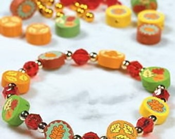 1 - Fall Fimo Beaded Bracelet Kit - Thanksgiving - Autumn Harvest - Kids Craft - Napkin Rings (See description * for easy DIY)