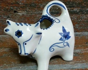 Vintage Ceramic Cow Creamer, Blue and White Hand Painted Pottery Cow Creamer, Beddgelert Wales Pottery