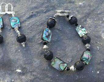 Lava and Paua Shell Bracelet