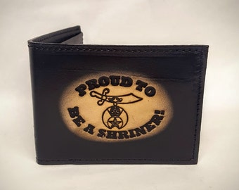 Proud to be a Shriner Bifold or Trifold Leather Wallet