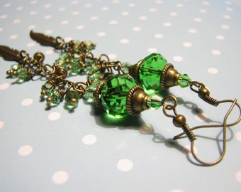 Long Earrings Green Earrings Crystal Earrings Dangle Earrings Boho Earrings Mom Gift for her Bohemian Jewelry Feather Earrings Gift Xmas